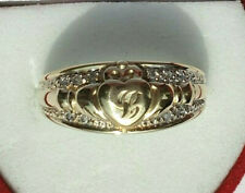 9ct Gold Vintage Natural Diamonds Claddagh Ring Size T 1/2 US Size 10 No Reserve