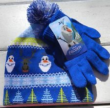 NWT Disney Frozen OLAF Kids winter hat & gloves pom skull style One size