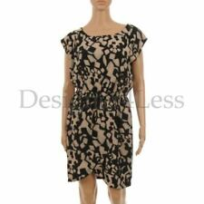 OXMO Dress Black & Beige Printed Short Sleeve with Wrap Skirt Size Large MG 108