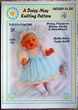 DOLLS KNITTING PATTERN   BABY BORN or 16/17ins doll No 268 - By Daisy-May