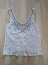 Women's Size 8 Cream Sparkly Top From Lipsy