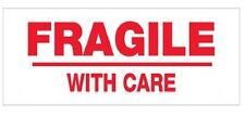 1000 NEW Fragile With Care Labels Stickers Industry Standard 65mm x25mm FREE P&P