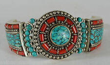 Vintage Chinese or Tibet Silver Coral & Turquoise Bracelet