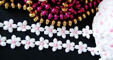 White /pink floral lace trim- ribbon - price for 1 yard