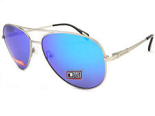 Dirty Dog Maverick Pilot Metal Sunglasses in Silver Blue Mirror Polarised Lens