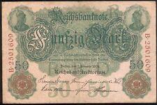 DR 50 Mark vom 7. Feb. 1908 Serie B2501609 Rosenberg Nr.32, III+