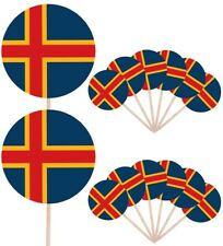 Aland Islands Flags Party Food and Cup Cakes Picks Sticks Decorations Toppers