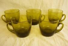 5 Depression OLIVE GREEN GLASS COFFEE CUPS TEA FOSTORIA Vintage