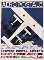 Aeropostale 1929 Vintage French Air Travel Poster Canvas Giclee 24x32 in.
