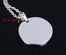 Lot 5ps Stainless Steel Polished Round Medals Pendant Necklace + Oval Chain 20''