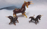 MINIATURE FIGURINES  (3) Glass Vintage Brown Bull & 2 Calves Collectiblesi  A-1