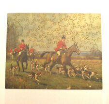 """Antique Talisman Wooden Jigsaw Puzzle Fox Hunt """"Over Field and Fences"""" 100+"""