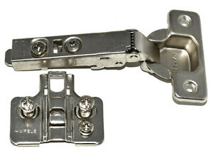 SOFT CLOSE FULL OVERLAY CONCEALED KITCHEN CABINET DOOR HINGES & MOUNTING PLATES