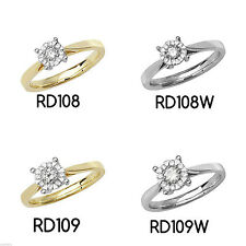 9 Carat Cluster Yellow Gold Round Fine Diamond Rings