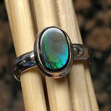 Natural Canadian Ammolite 925 Solid Sterling Silver Healing Stone Ring sz 8