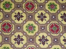 Vtg Cotton Barkcloth Texture Fabric Brown Green Red Medallion Motif 35 x 4.75yds