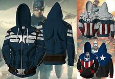 Captain America Hoodie Full zip coat jacket Hooded Sweatshirt Cosplay Costume