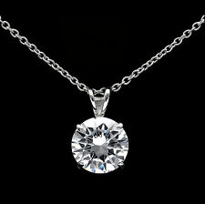 "1CT Created Diamond Solitaire Pendant 14k White Gold 18"" Cable Chain Necklace"