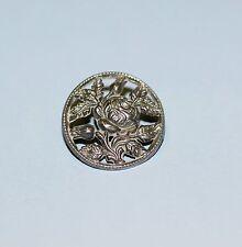 Pierced White Metal Rose Button.  Free Shipping!