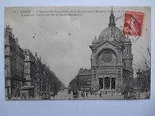 """CPA """"Paris - L'église Saint Augustin et le boulevard Malesherbes"""""""