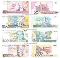 Brazil 50 + 100 + 500 + 1000 Cruzados 1986-88 Set of 4 Banknotes 4 PCS UNC