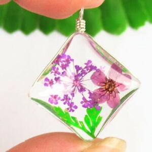 Wrapped Crystal Glass Purple Dried Flower Diamond Pendant Bead F41863
