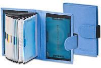 Rimbaldi® Leder Kreditkartenetui in Blau mit flexibler Außenlasche & viel Platz