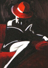 "ACEO Original Painting Collectible Art Card ""Woman in Red Hat"""