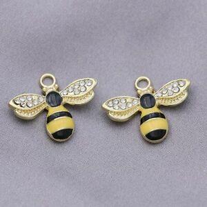 10Ps Enamel Crystal Bee Charm Pendant Jewelry Making Bracelet DIY Accessories