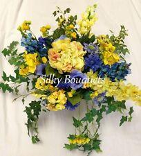 Seda Artificial Flor Cesta Colgante Grande Amarillo y Azul Hotel de oficina de jardín