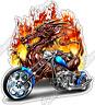 "Chopper Motorcycle Blue Bike Biker Dragon Car Bumper Vinyl Sticker Decal 4""X5"""
