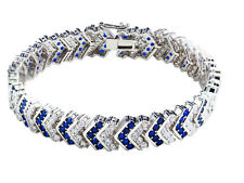 1 Carat TDW Blue and White Gold Plated Diamond Chevron Fancy Tennis Bracelet