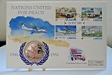 Westminster Liberia $1 Coin & Commemorative Cover ~ Nations United For Peace.