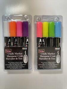 Lot (2) Marvy Uchida Bistro Chalk Markers 4pk Broad Point Tip Flouresnt Colors