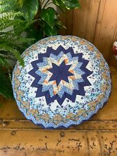 VINTAGE BLUE PATCHWORK CIRCULAR CUSHION & COVER FOR BED COUCH SOFT CAMPER VAN