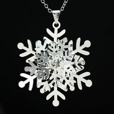Fashion Women 925 Silver Crystal Snowflake Pendant Necklace Christmas Xmas Gift
