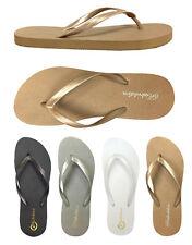 New  Ladies' Plain & Simple Two Tone Beach Flip Flop Sandals -- (**383),