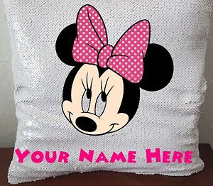 Personalised Minnie Mouse Sequin Magic Reveal Cushion 40cm x 40cm with/out inner