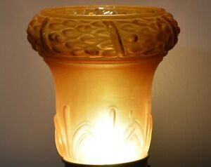 VINTAGE GOLD AMBER GLASS LAMP SHADE GLOBE 2 1/4 INCH FITTER