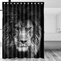 US Black Lion Waterproof Polyester Shower Curtain Home Bathroom Decor W/ Hooks