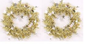 SET OF 2 Gold Tinsel Wreath Silver Stars on Wire Frame Christmas Decoration 24cm