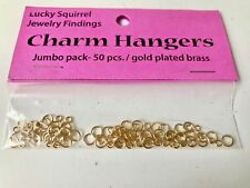 Lucky Squirrel Jewelry Findings Gold Plated Brass Charm Hangers  - 50 pcs. - New