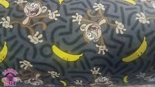 Cartoon Monkey & Bananas Cotton Flannel Fabric By The Yard