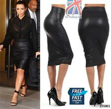 Knee Length Faux Leather Patternless Petite Skirts for Women