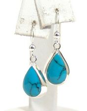 Sterling Silver Turquoise Dangle Earrings Teardrop French Wires