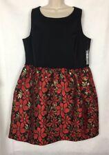 Tahari Women's Dress 20W Plus Black Red Gold Sleeveless Evening Prom Formal C384