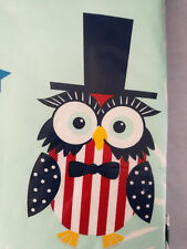 "Tablecloth July 4th Summer Owl Patriotic  60"" Round  Table PVC Free Vinyl New"
