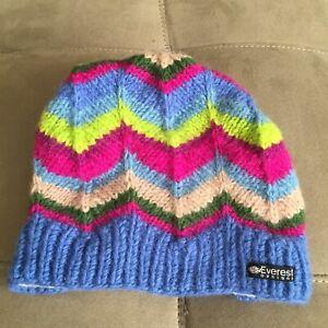Everest Designs Nepali Wool Winter Hat Beanie Fleece Lined Youth Size 5-12