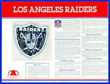 LOS ANGELES RAIDERS NFL TEAM EMBLEM PATCH COLLECTION STAT CARD ~ Willabee & Ward