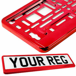 SUPER CHROME RED Car Number Plate Surround Holder FOR ANY CAR, TRUCK VAN TRAILER